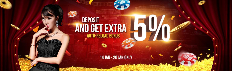 5% Deposit Auto Reload Bonus